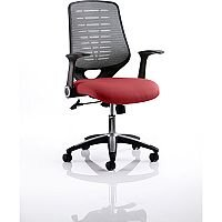 Relay Task Operator Office Chair Silver Back Chilli Red