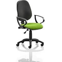 Eclipse I Lever Task Operator Office Chair With Loop Arms Black Back Swizzle Green Seat