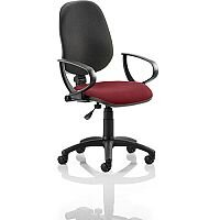 Eclipse I Lever Task Operator Office Chair With Loop Arms Black Back Chilli Red Seat