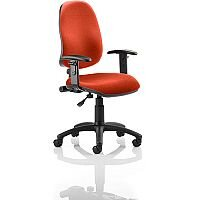 Eclipse I Lever Task Operator Office Chair With Height Adjustable Arms In Pimento Rustic Orange
