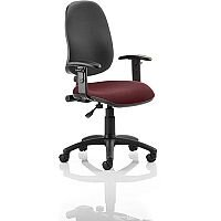 Eclipse I Lever Task Operator Office Chair With Height Adjustable Arms Black Back Chilli Red Seat