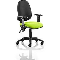 Eclipse II Lever Task Operator Office Chair With Height Adjustable Arms Black Back Swizzle Green Seat