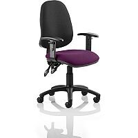 Eclipse II Lever Task Operator Office Chair With Height Adjustable Arms Black Back Purple Seat