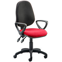 Eclipse II Lever Task Operator Office Chair With Loop Arms Black Back Cherry Red Seat
