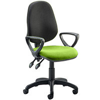 Eclipse II Lever Task Operator Office Chair With Loop Arms Black Back Swizzle Green Seat