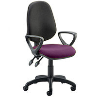 Eclipse II Lever Task Operator Office Chair With Loop Arms Black Back Purple Seat