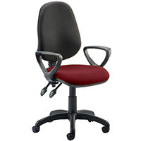 Eclipse II Lever Task Operator Office Chair With Loop Arms Black Back Chilli Red Seat