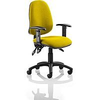 Eclipse III Lever Task Operator Office Chair With Height Adjustable Arms In Sunset Yellow
