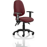 Eclipse III Lever Task Operator Office Chair With Height Adjustable Arms In Chilli Red