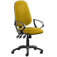 Eclipse III Lever Task Operator Office Chair With Loop Arms In Sunset Yellow