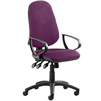 Eclipse III Lever Task Operator Office Chair With Loop Arms In Purple
