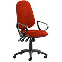 Eclipse III Lever Task Operator Office Chair With Loop Arms In Pimento Rustic Orange