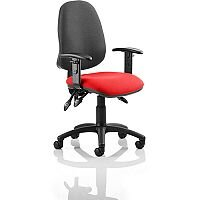 Eclipse III Lever Task Operator Office Chair With Height Adjustable Arms Black Back Cherry Red Seat
