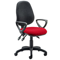 Eclipse III Lever Task Operator Office Chair With Loop Arms Black Back Cherry Red Seat