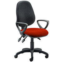 Eclipse III Lever Task Operator Office Chair With Loop Arms Black Back Pimento Rustic Orange Seat