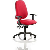 Eclipse XL III Lever Task Operator Office Chair With Height Adjustable Arms In Cherry Red