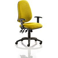 Eclipse XL III Lever Task Operator Office Chair With Height Adjustable Arms In Sunset Yellow