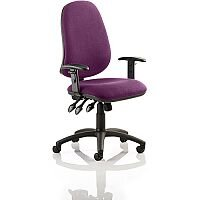 Eclipse XL III Lever Task Operator Office Chair With Height Adjustable Arms In Purple