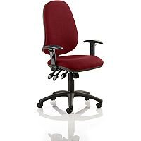 Eclipse XL III Lever Task Operator Office Chair With Height Adjustable Arms In Chilli Red