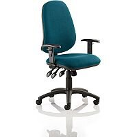 Eclipse XL III Lever Task Operator Office Chair With Height Adjustable Arms In Kingfisher Green