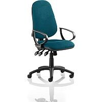 Eclipse XL III Lever Task Operator Office Chair With Loop Arms In Kingfisher Green