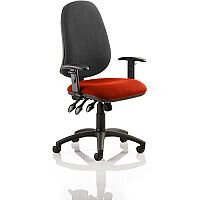 Eclipse XL III Lever Task Operator Office Chair With Height Adjustable Arms Black Back Pimento Rustic Orange Seat