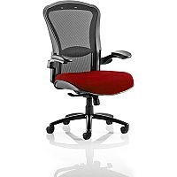 Houston Heavy Duty Task Operator Office Chair Black Mesh Back Chilli Red Seat - Weight Tolerance: 203kg