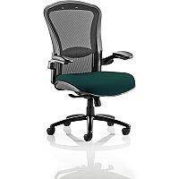 Houston Heavy Duty Task Operator Office Chair Black Mesh Back Kingfisher Green Seat - Weight Tolerance: 203kg