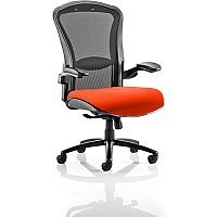 Houston Heavy Duty Task Operator Office Chair Black Mesh Back Pimento Rustic Orange Seat - Weight Tolerance: 203kg