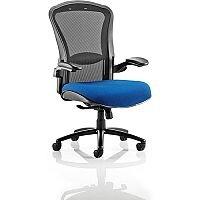 Houston Heavy Duty Task Operator Office Chair Black Mesh Back Serene Blue Seat - Weight Tolerance: 203kg