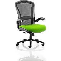 Houston Heavy Duty Task Operator Office Chair Black Mesh Back Swizzle Green Seat - Weight Tolerance: 203kg
