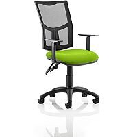 Eclipse II Lever Task Operator Office Chair With Height Adjustable Arms Mesh Back & Swizzle Green Seat