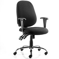 Lisbon Task Operator Office Chair Black Fabric With Arms