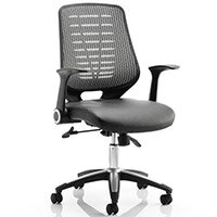 Relay Task Operator Office Chair Leather Seat Silver Back With Arms