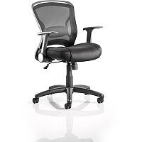 Zeus Task Operator Office Chair Black Fabric Black Mesh Back With Arms