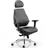Chiro Plus Ultimate Posture Office Chair Black Leather With Arms & Headrest