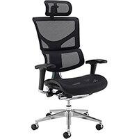 Dynamo Ergo Mesh Back 24 Hour Posture Chair with Chrome Base and Headrest Black