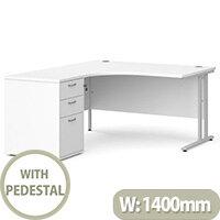 Maestro 25 SL left hand ergonomic desk 1400mm with silver cantilever frame and desk high pedestal - white