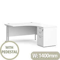 Maestro 25 SL right hand ergonomic desk 1400mm with silver cantilever frame and desk high pedestal - white