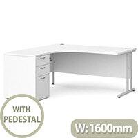 Maestro 25 SL left hand ergonomic desk 1600mm with silver cantilever frame and desk high pedestal - white
