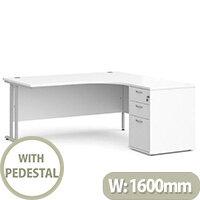 Maestro 25 SL right hand ergonomic desk 1600mm with silver cantilever frame and desk high pedestal - white