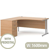 Maestro 25 WL left hand ergonomic desk 1600mm with white cantilever frame and desk high pedestal - beech