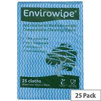 Envirowipe Antibacterial Blue Colour Coded Cleaning Cloths 25 Pack EWF150
