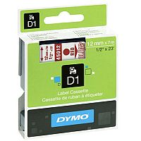 Dymo Red on Clear 4500 D1 Standard Tape 12mmx7m S0720520