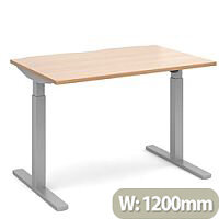 Elev8 Mono Height Adjustable Rectangular Sit-Stand Office Desk 1200mmx800mm With Silver Frame & Beech Top
