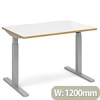 Elev8 Mono Height Adjustable Rectangular Sit-Stand Office Desk 1200mmx800mm With Silver Frame & White Top With Oak Edge