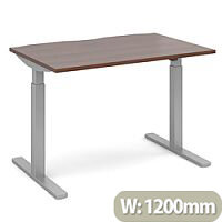 Elev8 Mono Height Adjustable Rectangular Sit-Stand Office Desk 1200mmx800mm With Silver Frame & Walnut Top