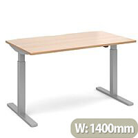 Elev8 Mono Height Adjustable Rectangular Sit-Stand Office Desk 1400mmx800mm With Silver Frame & Beech Top
