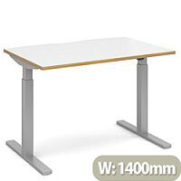 Elev8 Mono Height Adjustable Rectangular Sit-Stand Office Desk 1400mmx800mm With Silver Frame & White Top With Oak Edge