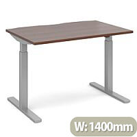 Elev8 Mono Height Adjustable Rectangular Sit-Stand Office Desk 1400mmx800mm With Silver Frame & Walnut Top